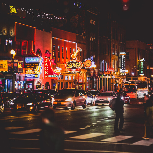 downtown Nashville TN at night