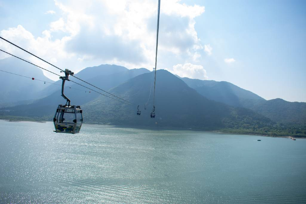 Lantau Island cable car.