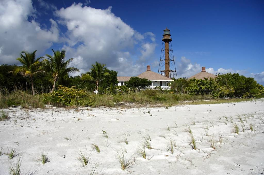 lighthouse and beach on sanibel island.
