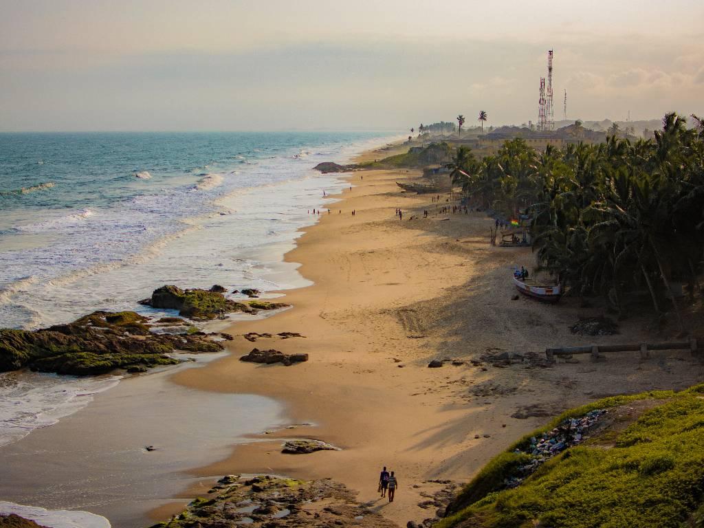 sandy coastline in Ghana.