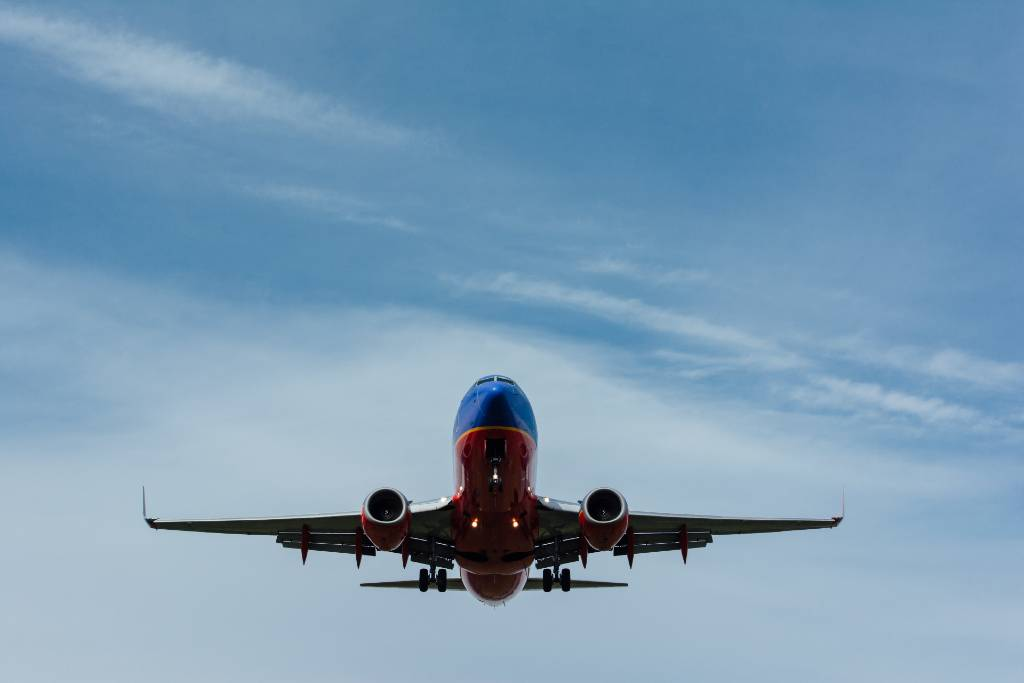 southwest airlines flight in the air.