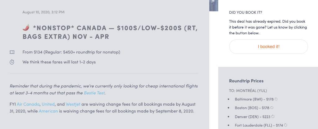 screenshot of Canada deal.