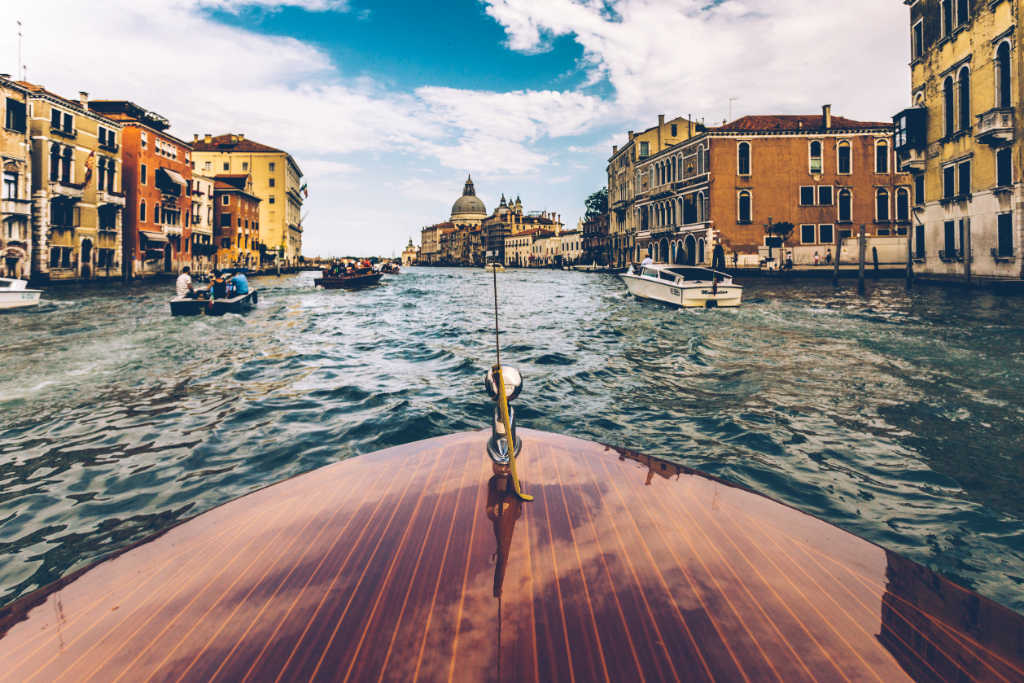 view of Venice from a boat on the Grand Canal.