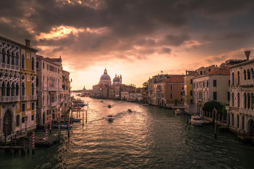 Venice over Venice Grand Canal.