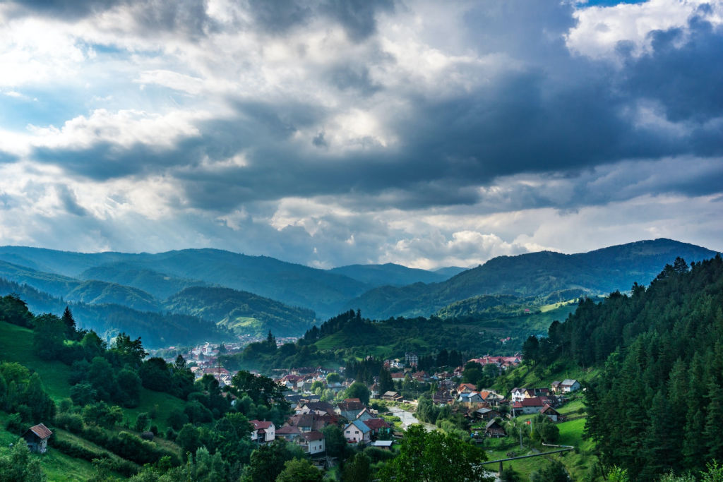 view of mountains and town in Transylvania.