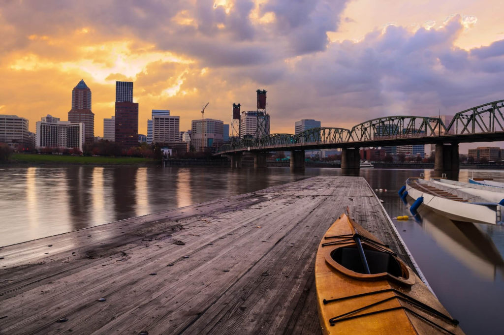 kayak by river in Portland.