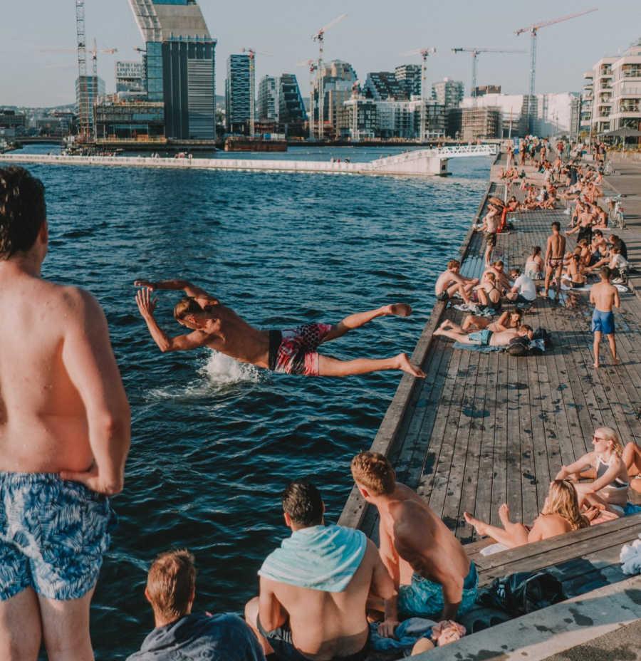 swimming in Oslo harbor.