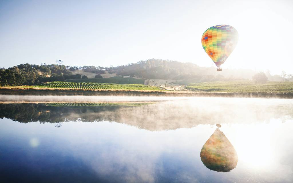 hot air balloon over Napa.