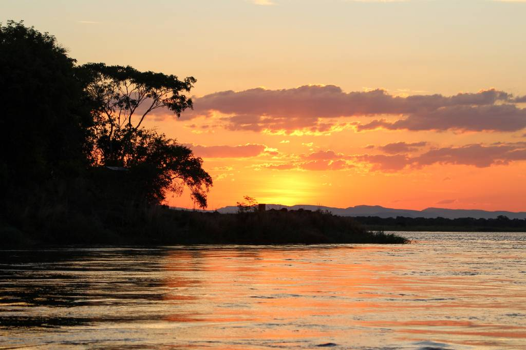 sunset in the Zambezi region.