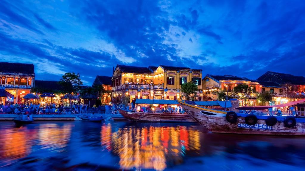 Hoi An riverfront at night.