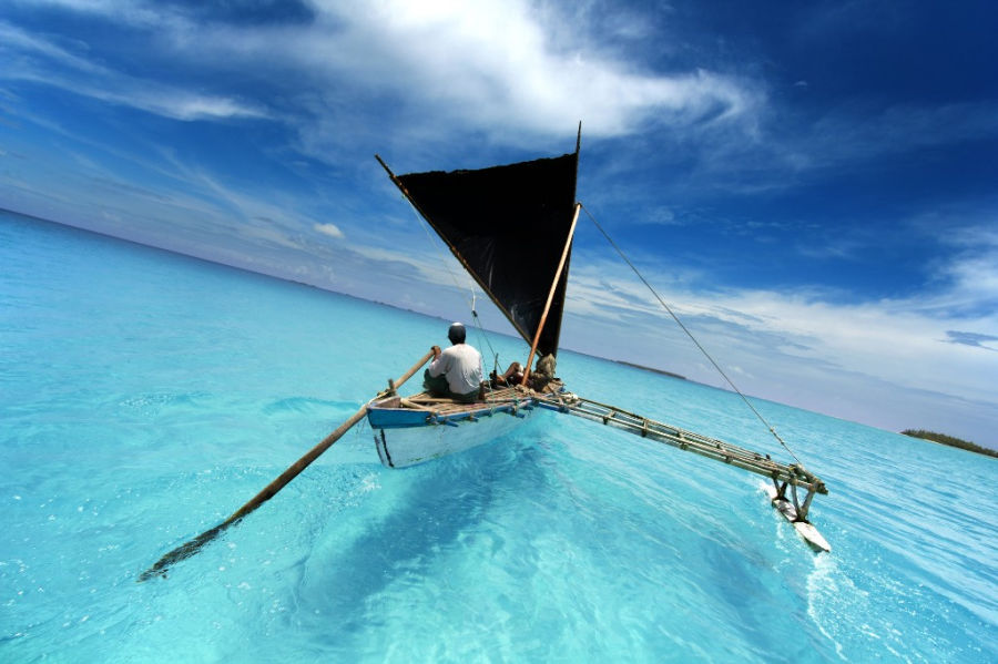 ourigger canoe in French Polynesia