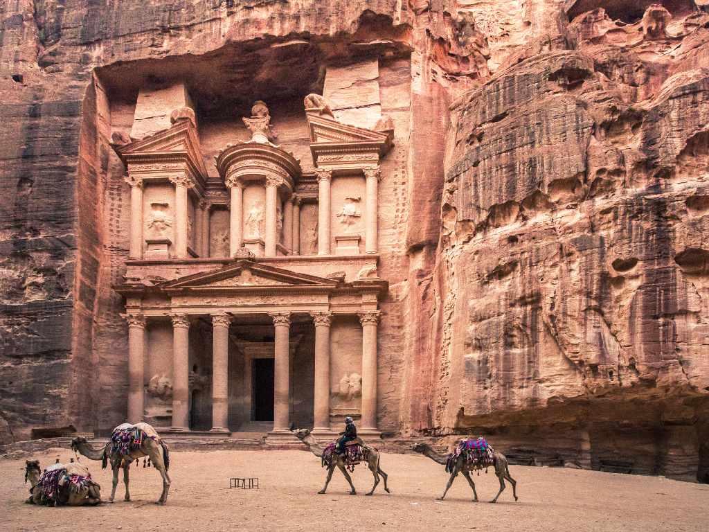Petra treasury building in Jordan.