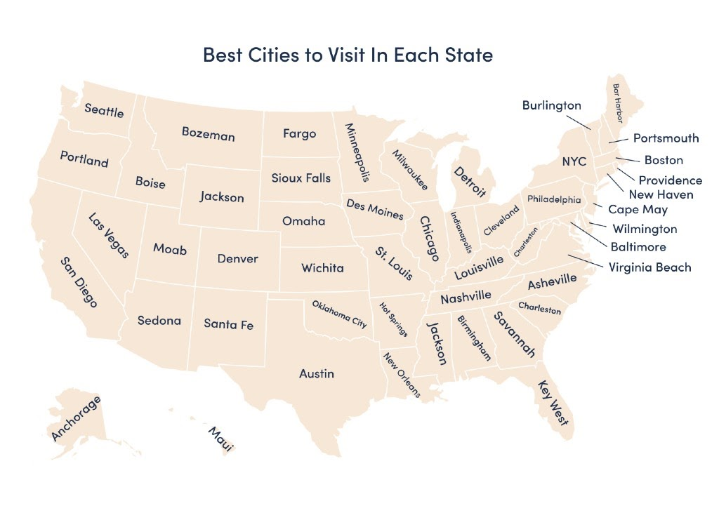graphic of the best cities to visit in each state