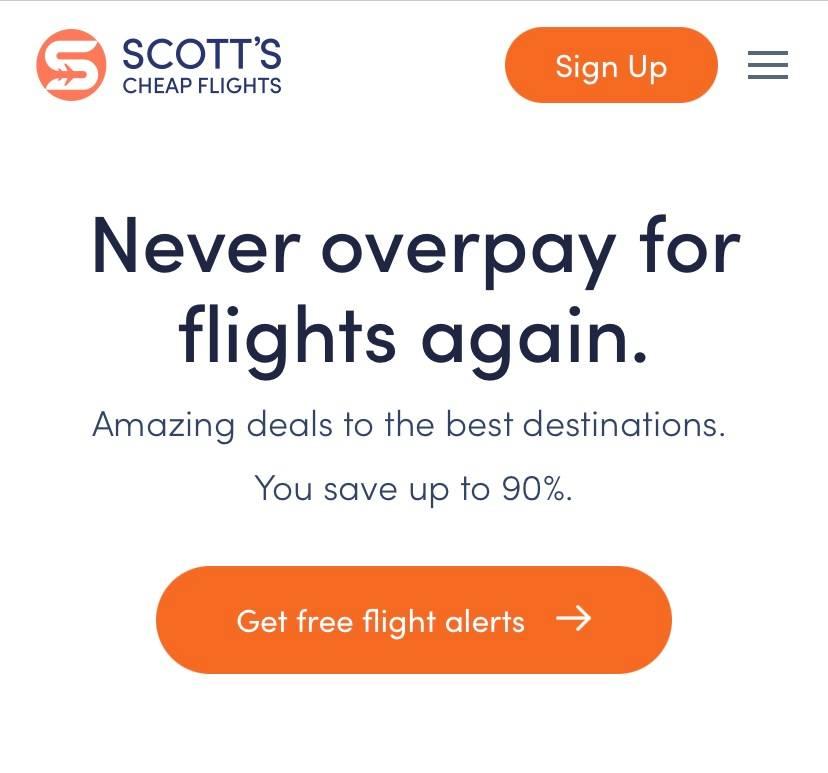signup screen for Scott's Cheap Flights.