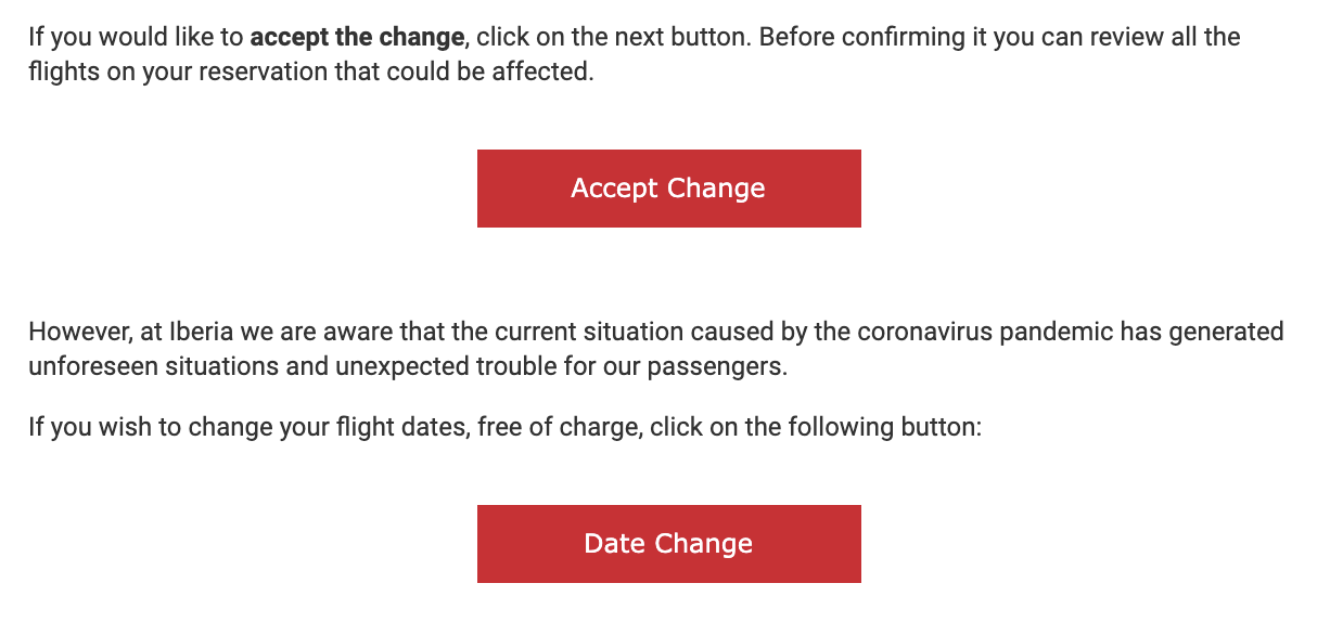 change fee notice from Iberia airlines.