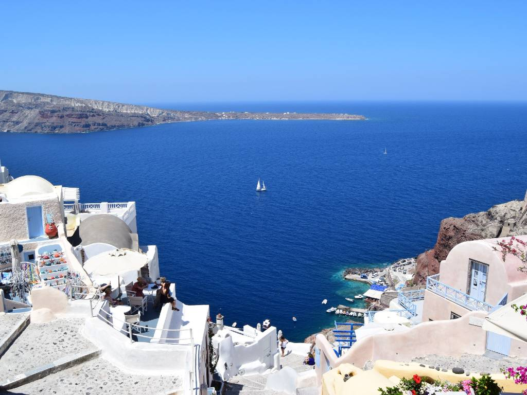view over water from Santorini Greece.