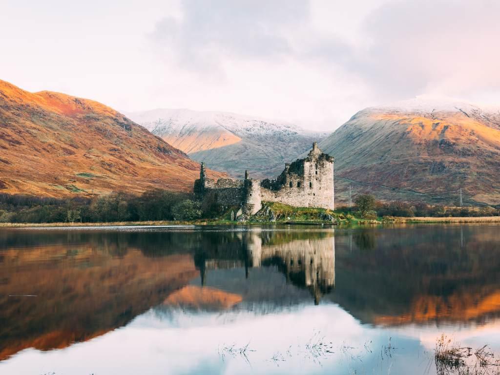 castle on a lake in Scotland.