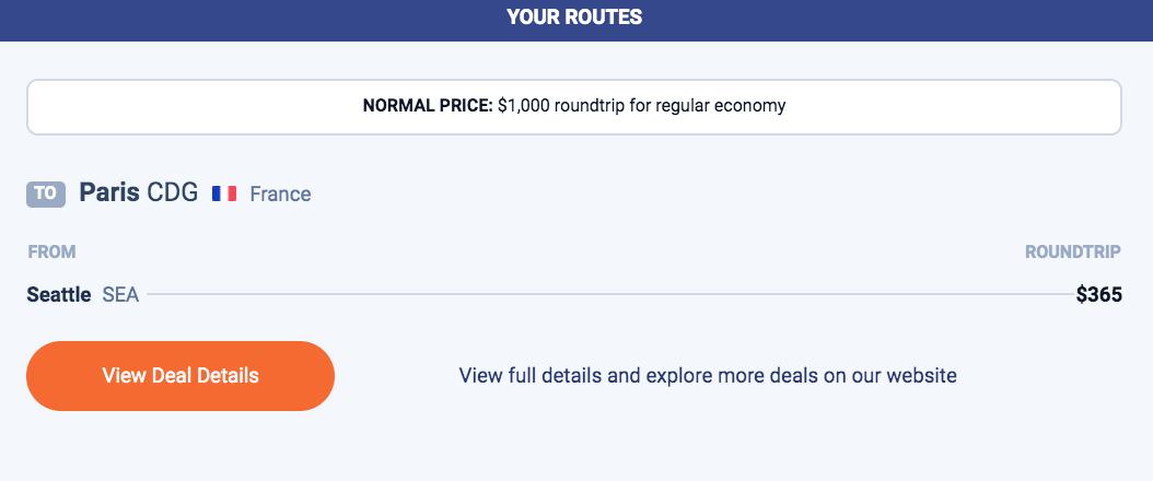 example Scott's Cheap Flights deal.
