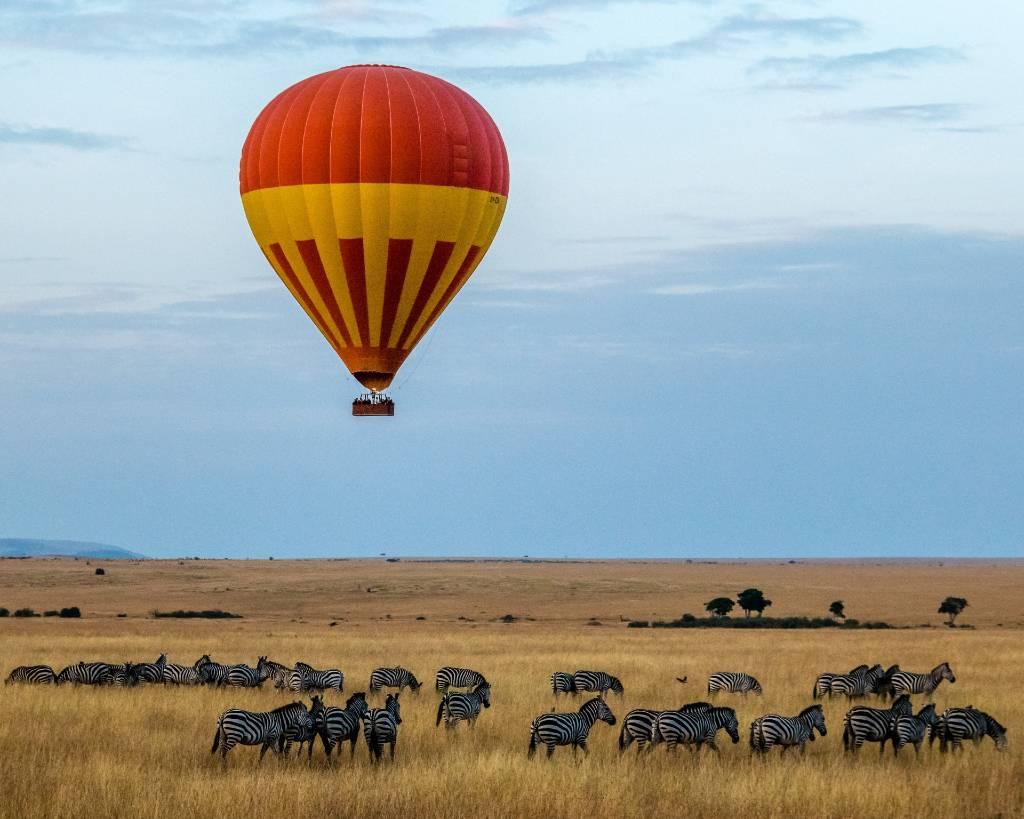 balloon over Zebras in Africa.