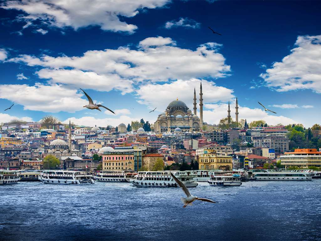 view of Istanbul from the water.