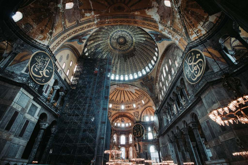 looking up at the ceiling of the Hagia Sofia.