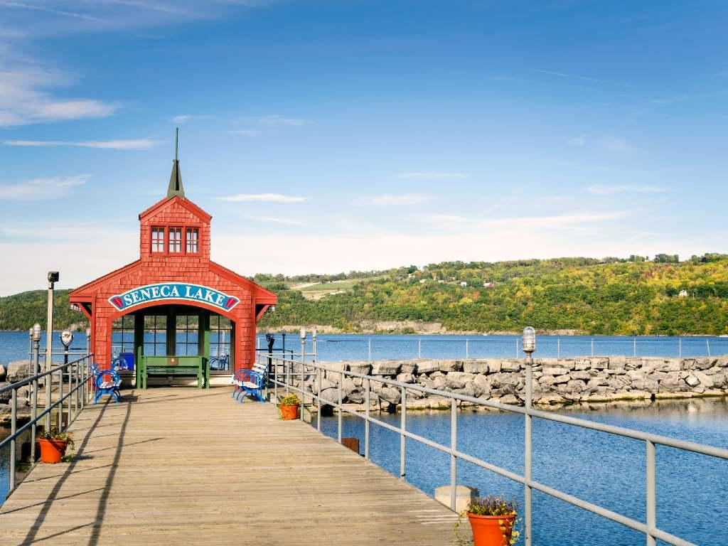 pier in Finger Lakes, New York.