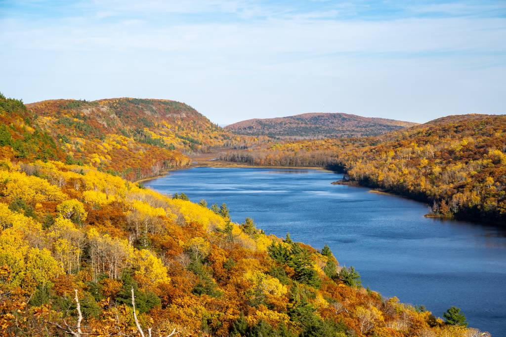 forests with fall color in Michigan's Upper Peninsula.