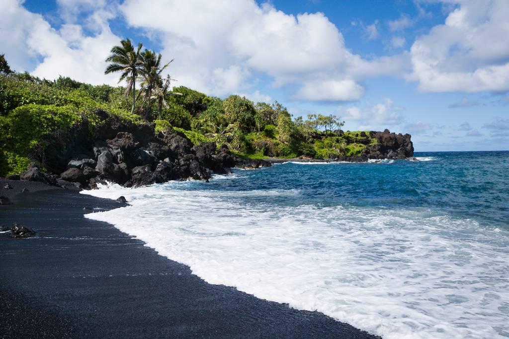 black sand beach on Maui.