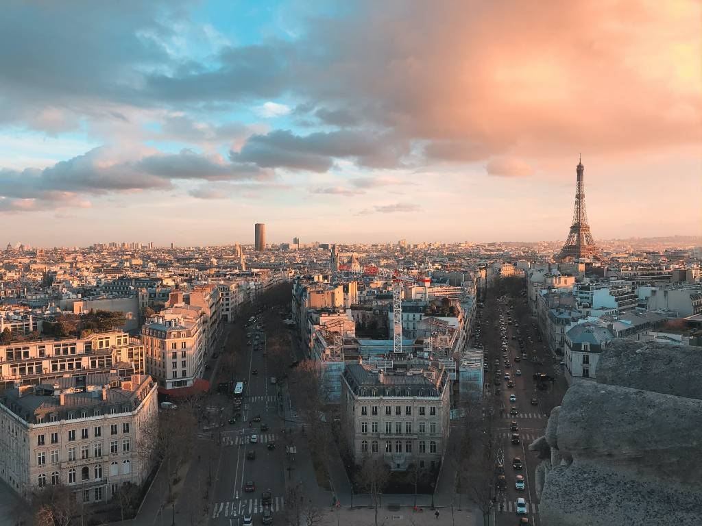 view overlooking Paris with Eiffel Tower in the distance.