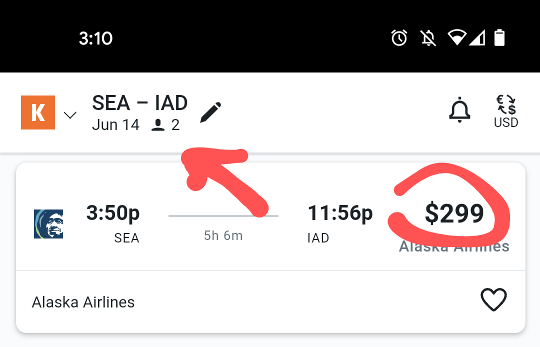 Search result for two passengers from SEA to IAD for $299 each.
