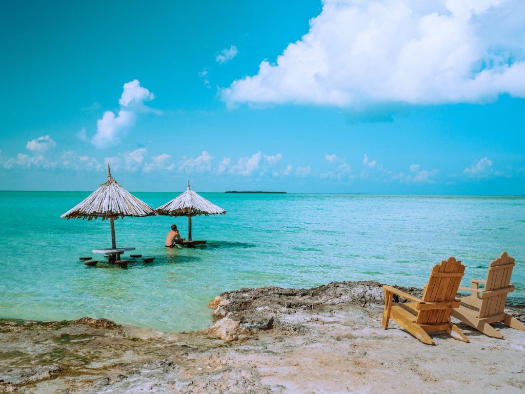 beach and beautiful blue water in Belize.