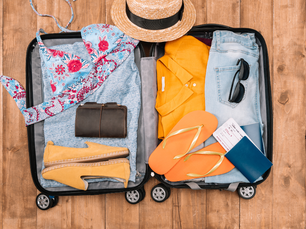 suitcase packed for a summer trip