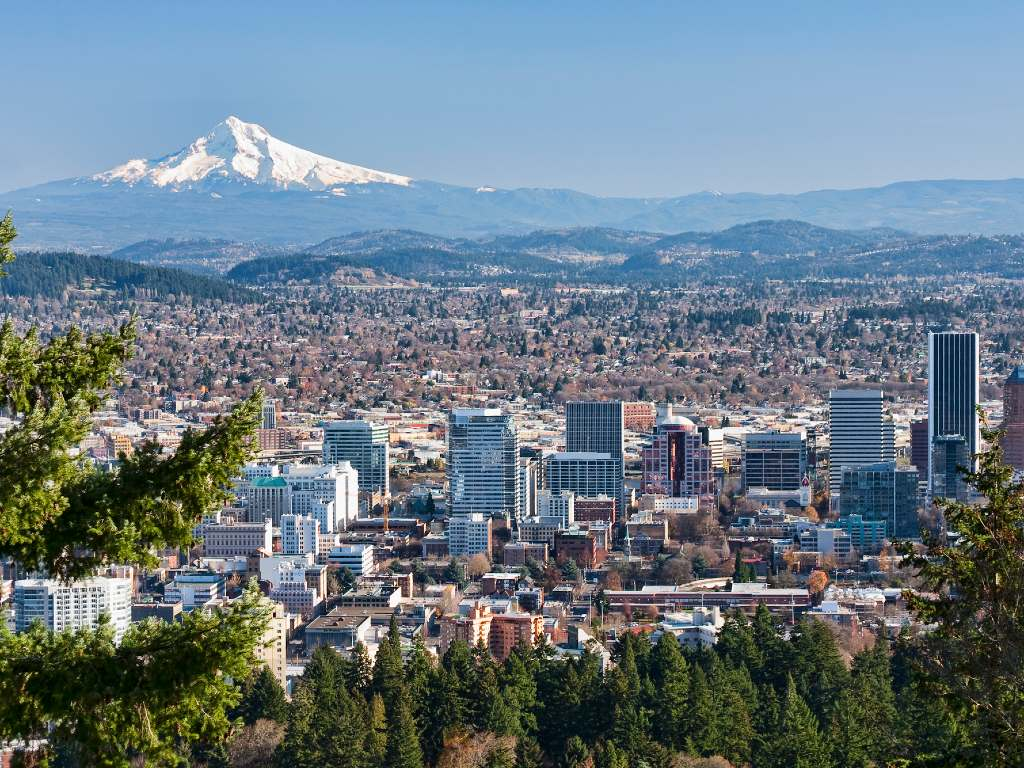 view over Portland, Oregon, with Mt. Hood in background.