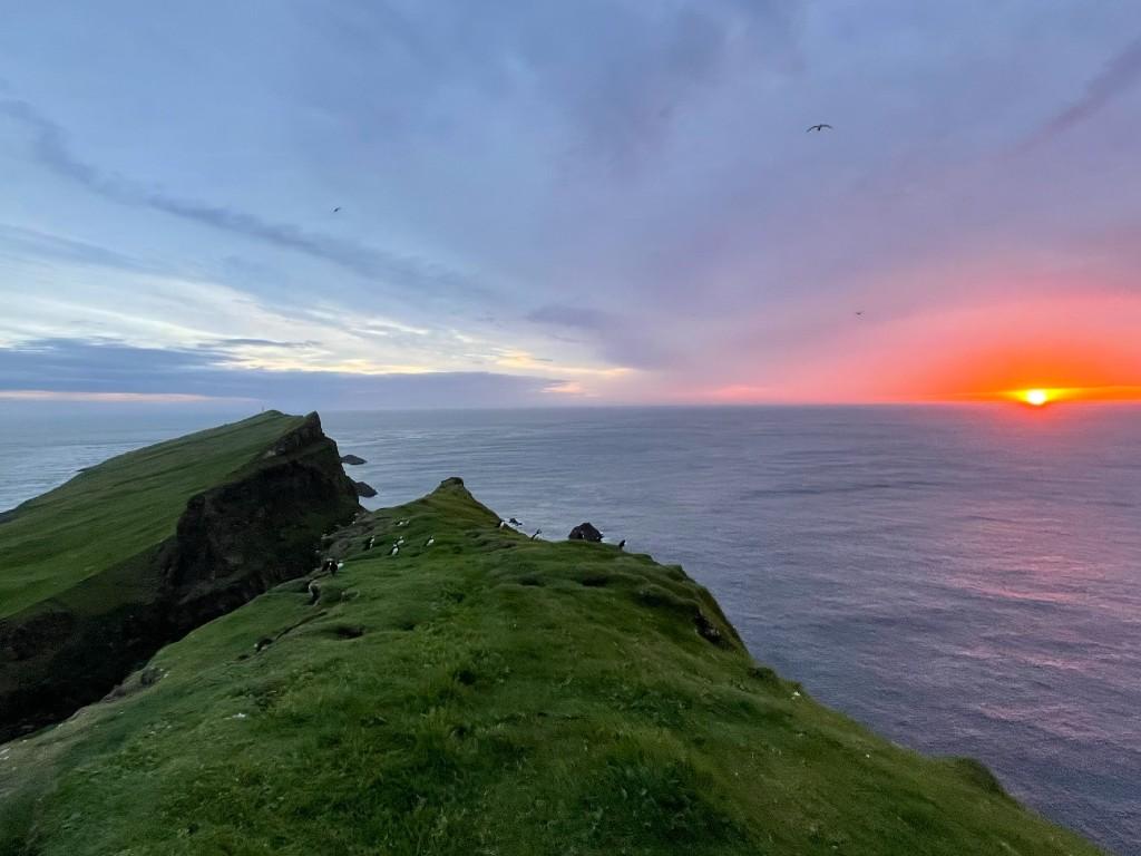 Cliffs at Mykines at sunset.