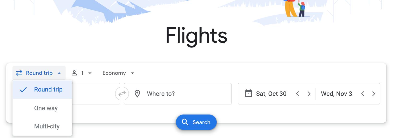 screenshot showing flight options drop down menu on Google Flights.