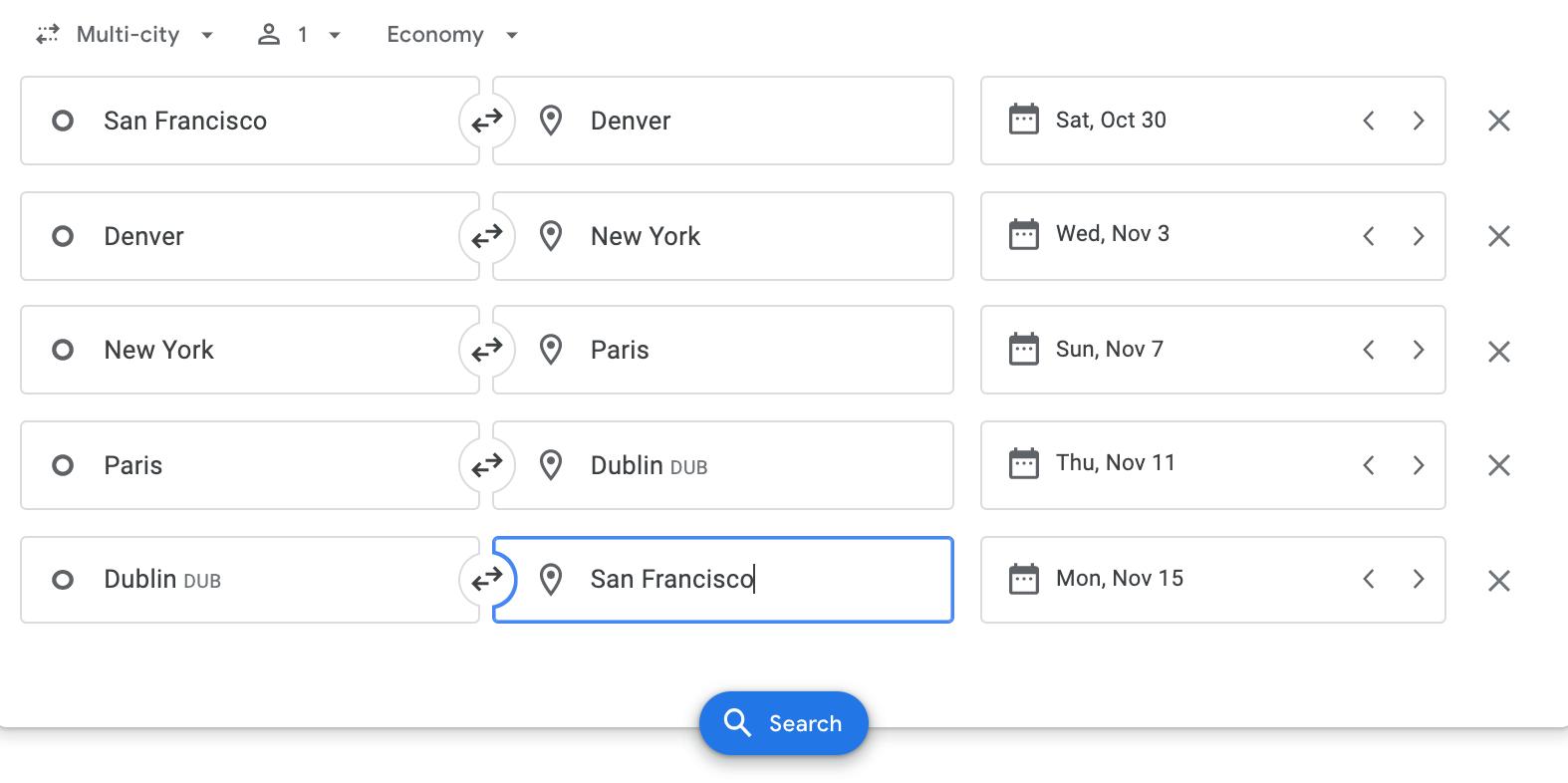 screenshot of multi-flight search on Google Flights.