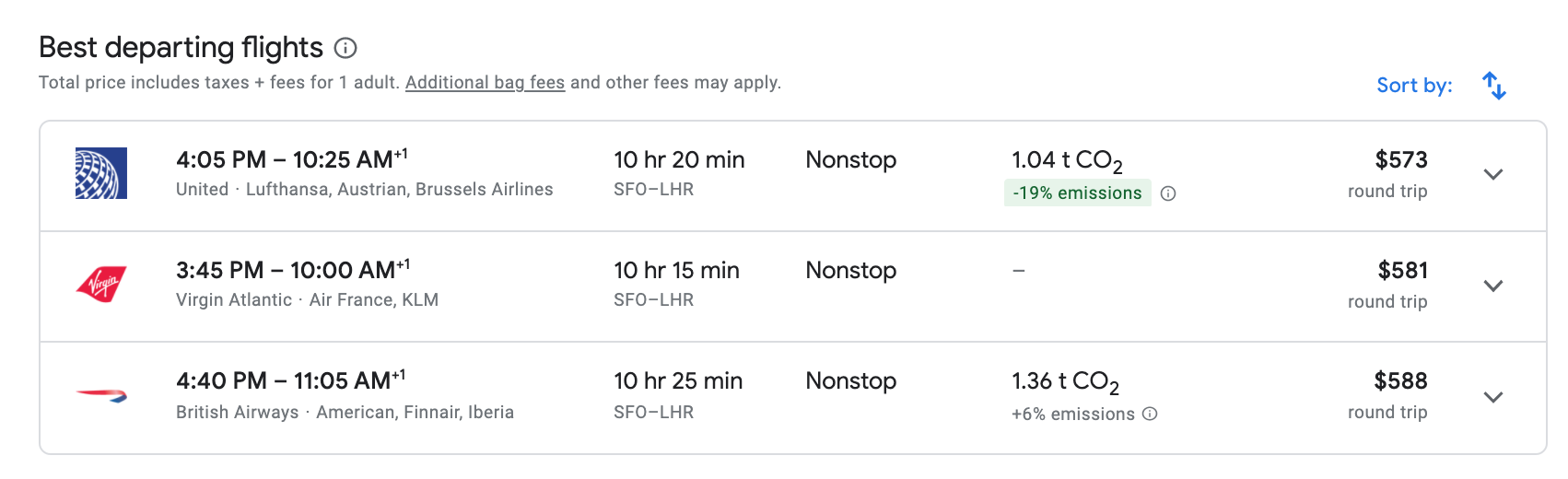screenshot of Google Flights results page with carbon emissions info.