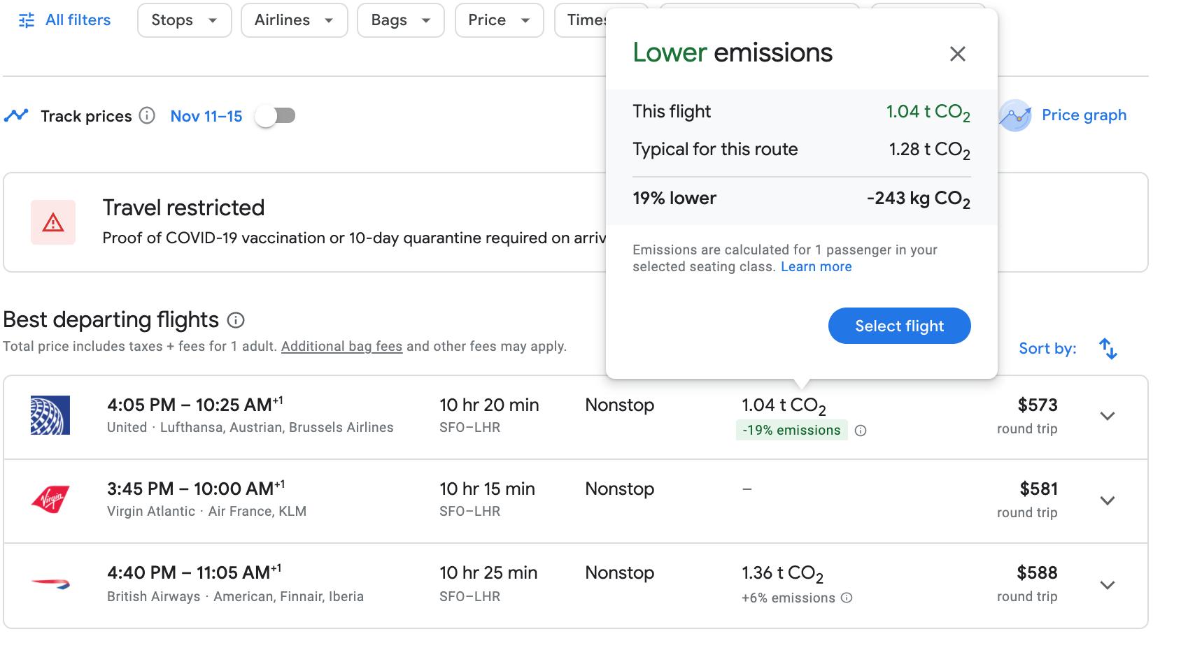 screenshot of Google Flights result with popup showing average emissions per flight