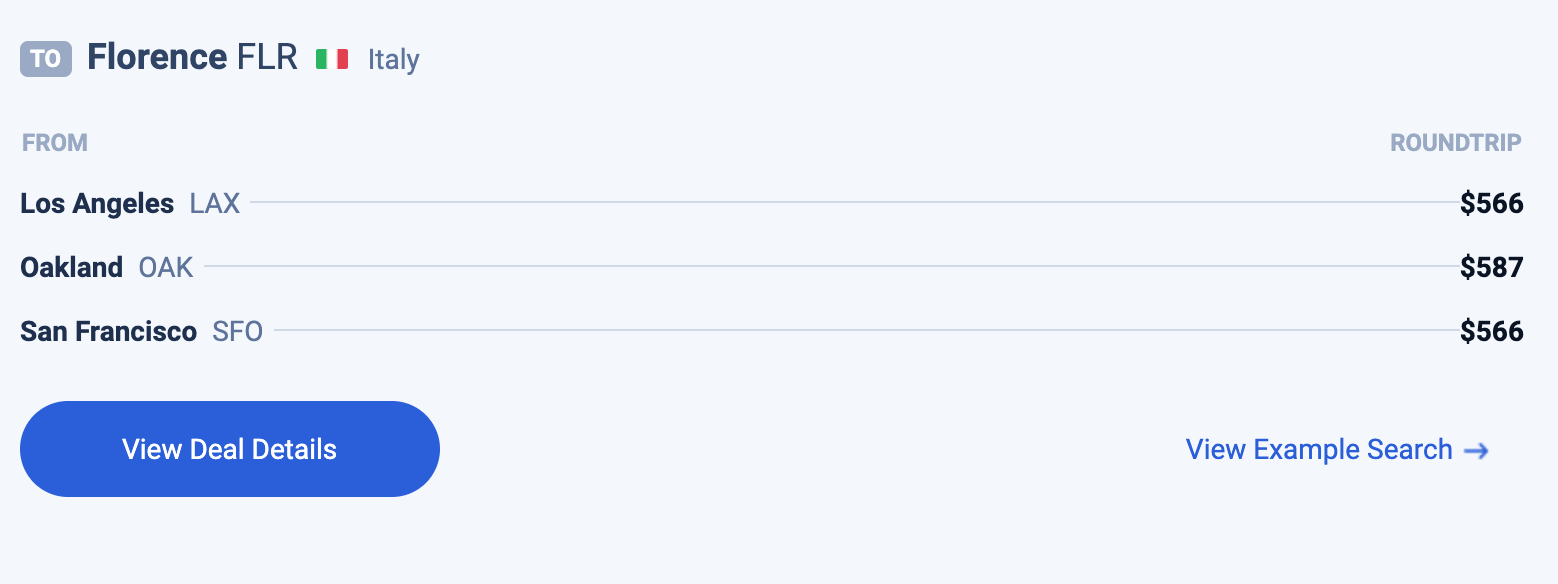 screenshot of a Scott's Cheap Flights deal with ink to a sample search.