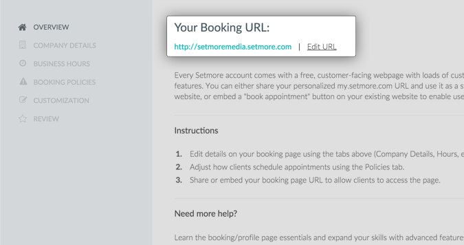 Screenshot Setmore Booking URL