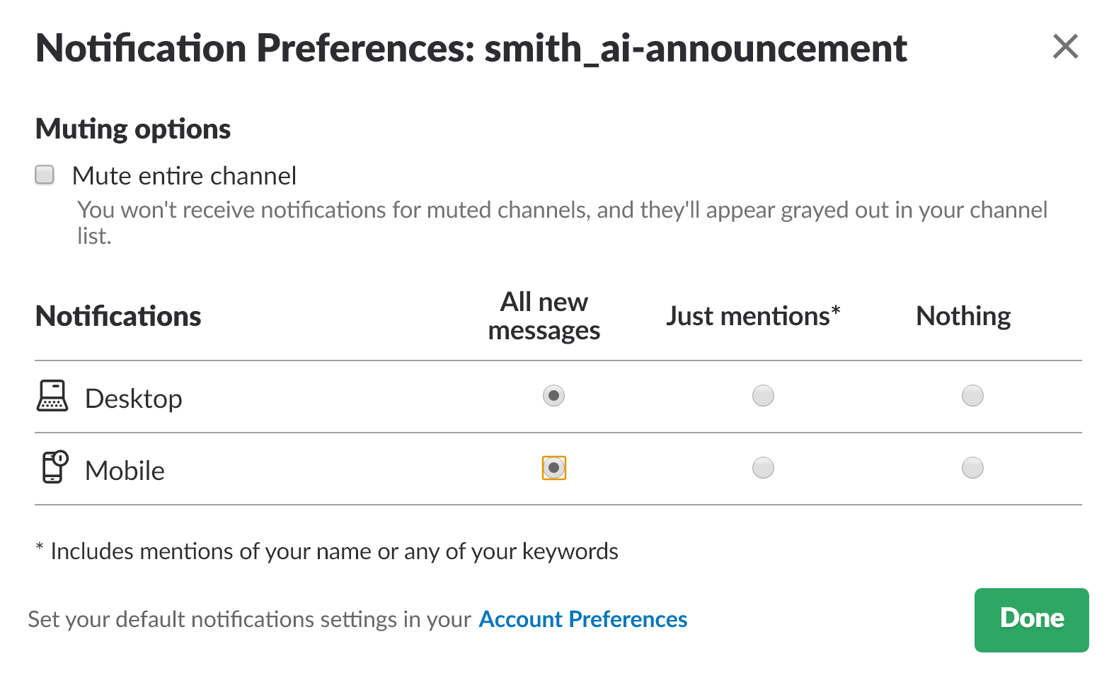 slack notification preferences