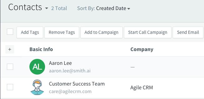 agile crm contact
