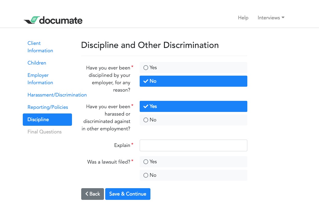 Screenshot from Documate showing an intake form example.