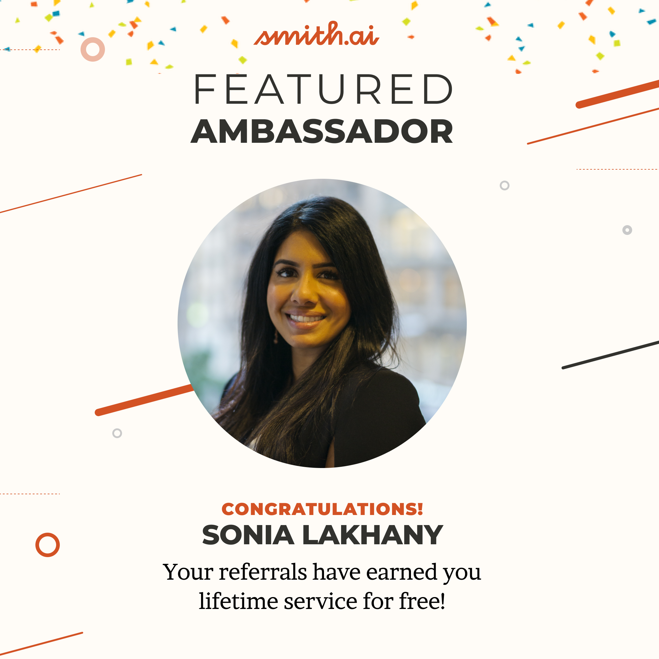 Smith.ai Ambassador Sonia Lakhany Earns Lifetime Receptionist Services for Free!