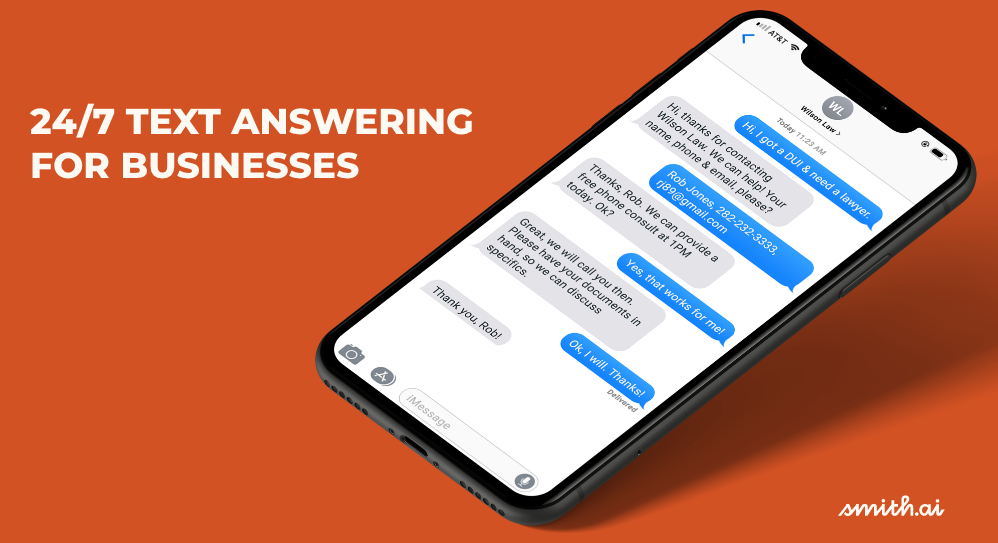 NEW! 24/7 SMS Text Answering by Smith.ai: Live Agents Respond to Your Business Texts