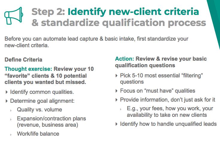 Identify new client criteria