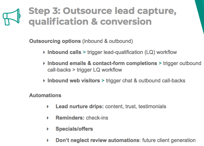 Outsource lead capture, qualification, and conversion