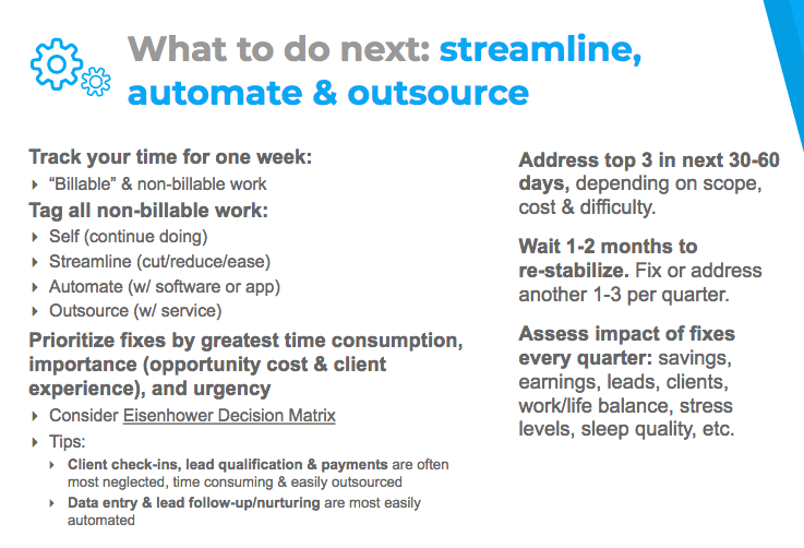 Streamline, automate, and outsource