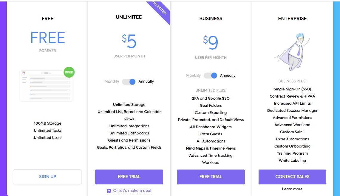 ClickUp pricing