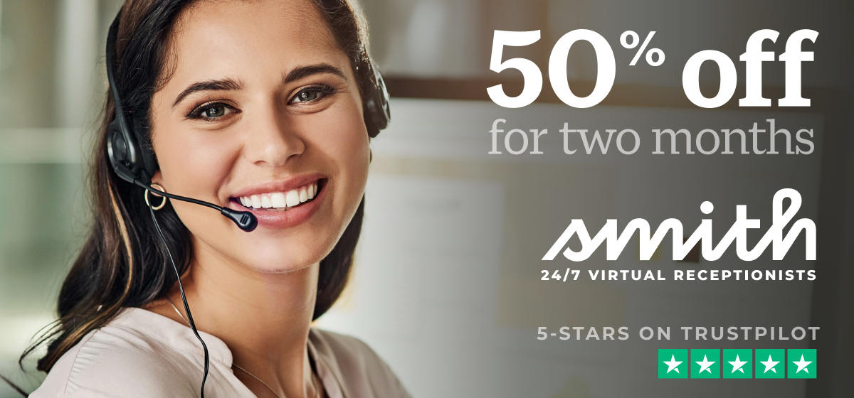 smith.ai virtual receptionists and website chat 50% off black friday sale 2020
